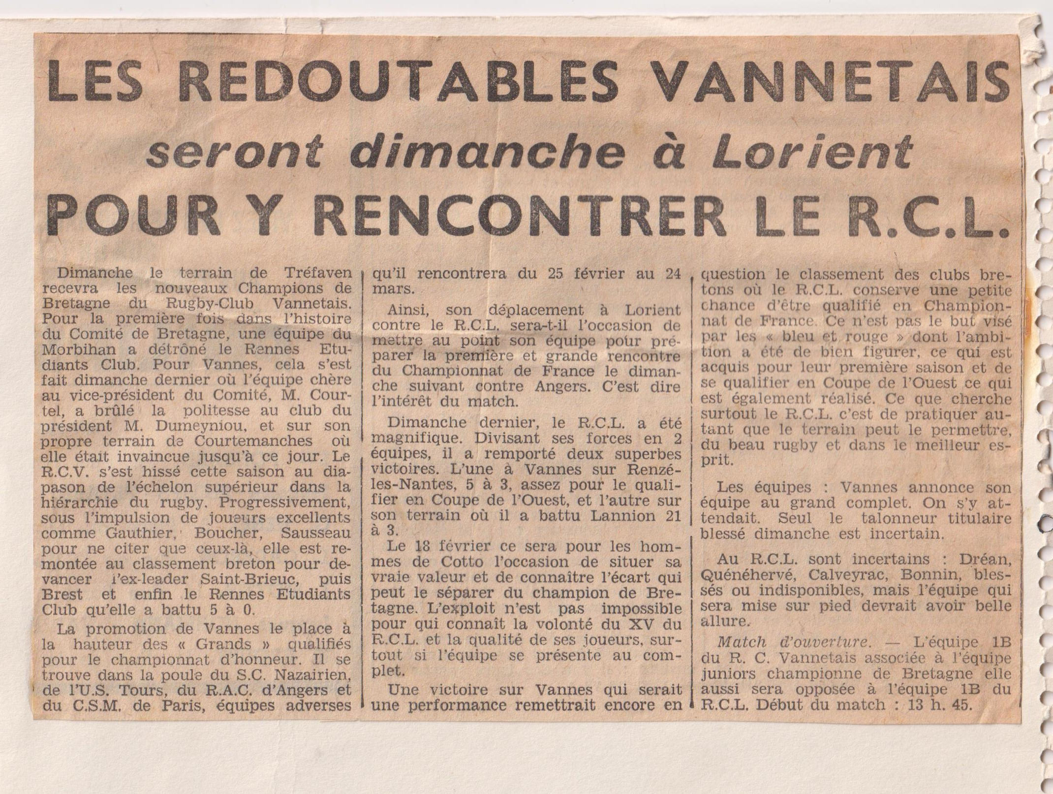 Article journal Ouest France Février 1968